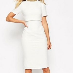 Asos white pencil dress with gold collar